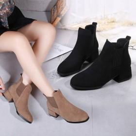 磨砂短靴女中跟粗跟马丁靴圆头女士切尔西靴一脚蹬女鞋