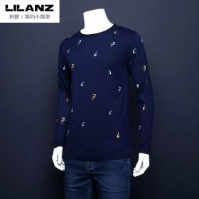 利郎品牌剪标针织衫弹力含桑蚕丝休闲圆领长袖T恤毛衣