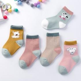 5双装儿童袜卡通中筒条纹吸汗透气纯棉袜