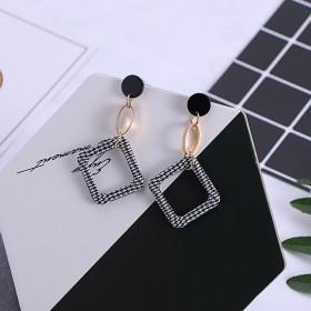韩国格纹长款耳环迷人复古女耳钉气质小众耳坠