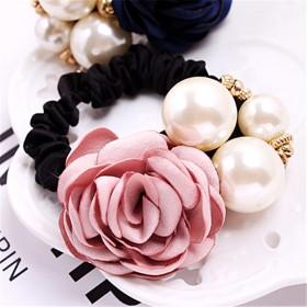 韩版时尚发饰大珍珠玫瑰花朵发圈 山茶花发绳头饰镶钻