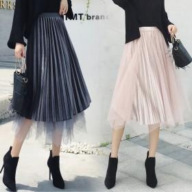 高腰不规则网纱裙金丝绒半身裙