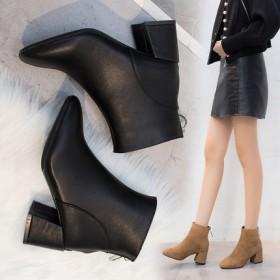 蝶恋朵马丁靴女英伦风拉链新款粗跟百搭高跟短靴子