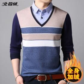北极绒秋冬中青年假两件衬衣男长袖针织衫衬衫加绒加厚