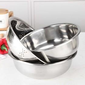 金石港能不锈钢盆三件套无磁圆形家用厨房打蛋和面淘米