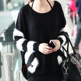 宽松圆领套头大码毛衣外套黑白显瘦大码女装中长款毛衣