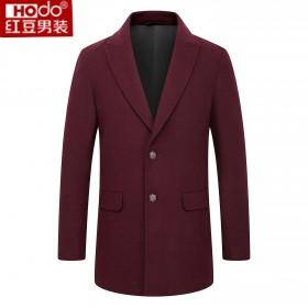 红豆品牌西装领两粒49.6%羊毛呢大衣夹克外套