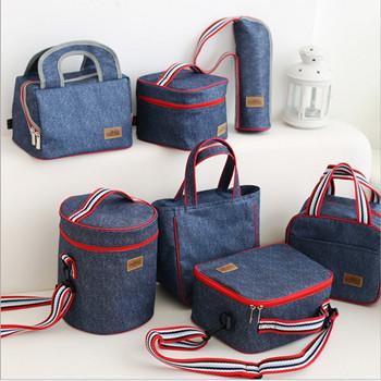 圆形带饭包饭盒袋保温包手提袋防水便当包零食包布袋午