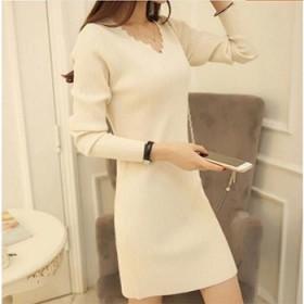 v领针织衫修身显瘦女装中长款套头打底衫长袖连衣裙女