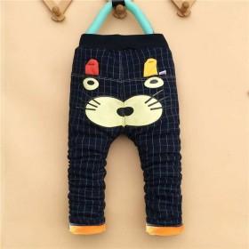 童裤休闲加厚冬季新款加绒加棉男女儿童牛仔棉裤