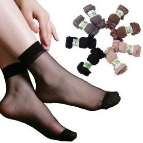 【5双】短丝袜短袜夏季袜子女水晶袜丝袜黑色肉色短袜