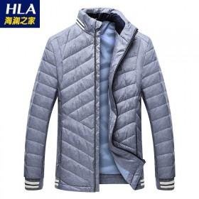 海澜之家品牌剪标80%白鸭绒男士休闲羽绒服外套男装