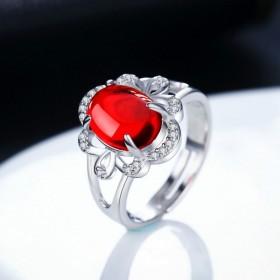 纯银玛瑙食指戒指女开口可调节韩国个性简约闺蜜装饰品