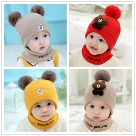 婴儿帽子秋冬季男女宝宝毛线帽加厚保暖新生儿帽0-3