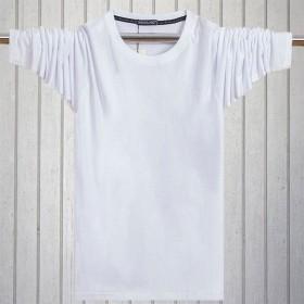 男士纯色圆领长袖T恤秋衣宽松全棉青少年人打底衫
