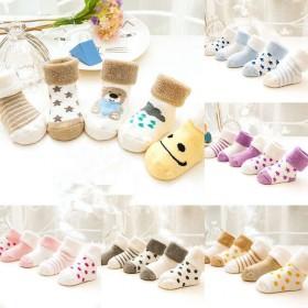 三双装婴儿袜新0-3岁全棉纯棉儿童袜毛圈袜