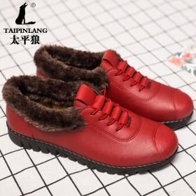 太平狼秋冬款妈妈鞋加棉软底软皮单鞋防滑舒适孕妇鞋中
