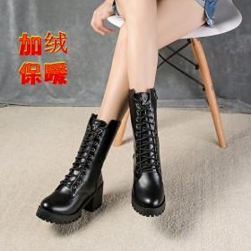 秋冬季加绒马丁靴女英伦风粗跟韩版短靴子舒适防滑高跟
