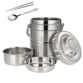 双层不锈钢保温桶提锅三层饭盒桶便携学生家用提锅