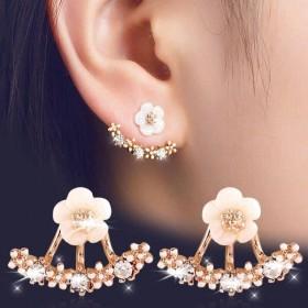 【包邮买就送礼品雏菊新款韩版时尚耳环花朵后挂式耳钉