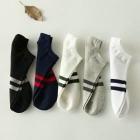 韩国两条杠二杠薄款袜子男秋季短筒袜子学生学院风韩版