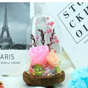 圣诞节礼物永生花玻璃罩摆件送女友生日礼物