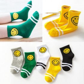 五双装秋冬季儿童袜子宝宝小孩男童女童中筒袜男孩中