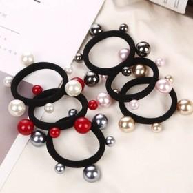 新款韩国百搭大小珍珠头绳宽边钉珠扎头皮筋发圈