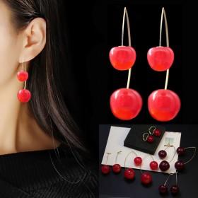个性红色樱桃车厘子小众百搭气质女耳环配饰