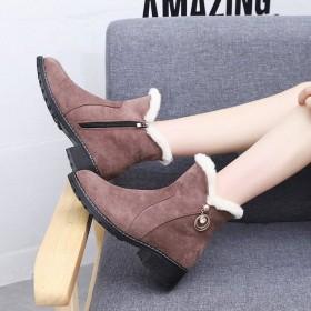名欧鸟雪地靴女韩版短筒靴秋冬新款保暖加厚短靴棉鞋防
