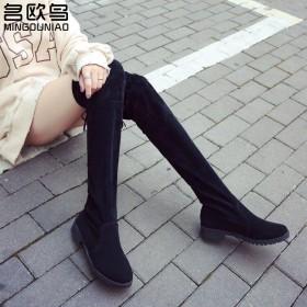 名欧鸟2018秋冬季新款小辣椒粗跟过膝长靴女士平底