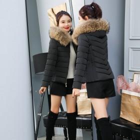 大毛领棉衣外套女韩版时尚修身短外套连帽加厚拉链保暖