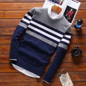 男士毛衣春秋季18新款韩版潮流个性修身打底针织衫