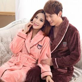 秋冬长款法兰绒睡袍男女士情侣浴袍加厚珊瑚绒粉色睡衣