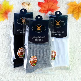 春秋季纯色男士独立包装带棉袜子 中筒袜休闲运动