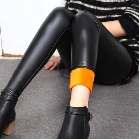 仿皮打底裤加厚黄金甲皮裤加绒大码女裤
