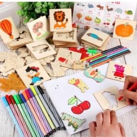 画画套装工具幼儿园小学生初学涂鸦绘画模板男孩女孩儿