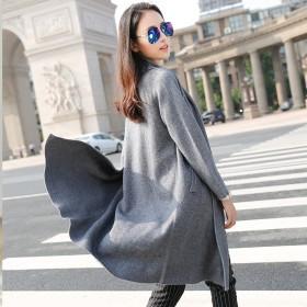 貂绒大衣女宽松秋冬新款针织开衫加厚中长款毛衣外套