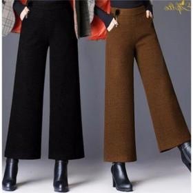 高腰龙凤呢阔腿裤秋冬直筒毛呢裤子女宽松显瘦宽腿裤