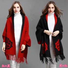 牡丹花针织开衫流苏斗篷披肩毛衣外套围巾