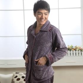 冬特价睡衣清仓男士时尚长袖珊瑚绒保暖家居服套装