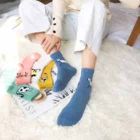 5双颜色随机袜子女韩版中筒船袜加厚保暖