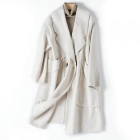毛呢外套女双面100%纯羊毛羊绒呢子大衣