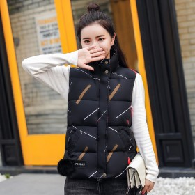 小马甲女秋冬装韩版短款学生背心棉衣服白色新款黑色羽