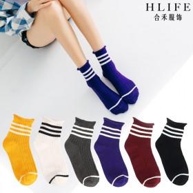 新品亏本卖,合禾三条杠女士中筒袜翻边罗口全棉袜子女