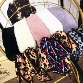 秋冬季围巾女仿懒兔毛仿皮草豹纹飘带韩版百搭保暖毛领