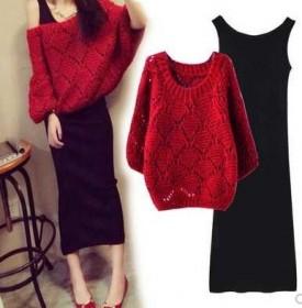 套装裙女秋装新款韩版毛衣连衣裙长款针织时尚两件套