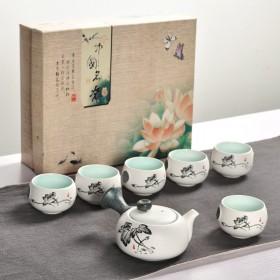 7头茶具 雪花釉茶具套装功夫茶具陶瓷茶具套装