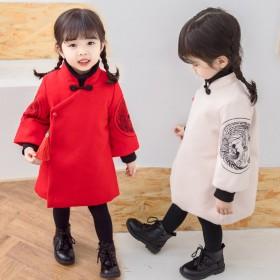 童装冬女宝宝中国风汉式唐装连衣裙喜庆吉祥刺字绣花