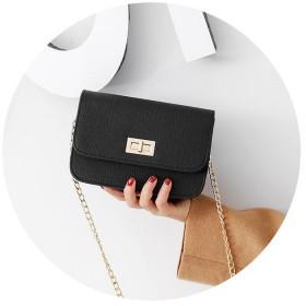 韩版新款chic链条小方包单肩斜挎包时尚锁扣女包迷